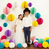 """Wholesale Christmas Ball Wreath - 4"""" 10cm Paper Honeycomb Flower Ball Party Stage Canopy Background Wedding Decoration Birthday Holiday Festive Christmas Lanterns"""