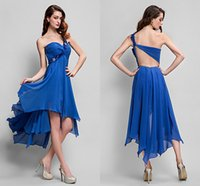 Wholesale Hi Lo Blue Chiffon - One shoulder Hi-lo Blue Cocktail Dresses Evening Wear Neaded Open Back Chiffon Tiered Prom gowns High quality Fast Delivery WWL