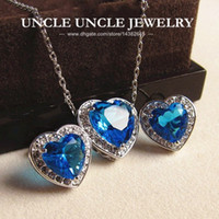 Wholesale Heart Shape Lighting Necklaces - Beautiful!!! White Gold Color Blue Zirconia Setting Heart-shape Design Lady Jewelry Set Earrings Necklace Wholesale