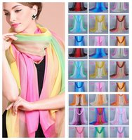 Wholesale Gradient Georgette Scarf - 29Colors 160*50 New Women's Fashion Fade Color Georgette Long Wrap Shawl Beach Silk Scarf gradient color