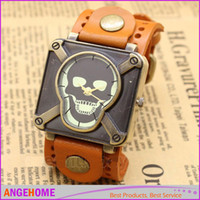 Wholesale Antique Belt Bracelet - Retro Leather Vintage Skull Skeleton Bracelet Wrist Watch Punk Men Boy fashion watch men ladies watch 6 color