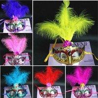 Wholesale Decorations For Masquerade - In Stock feather masquerade masks masquerade decorations masks for masquerade ball maskmasquerade masks masquerade masks ON A STICK SILVER