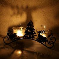 Wholesale Vintage Candlestick Holders - Christmas Tree Deer Model Candle Holder Vintage Lantern Sconce Iron Candlestick Candle Stand Lantern Decor Crafts OOA3736