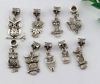 Quente! 180pcs Antique Silver Alloy Mix Owl Dangle Bead Fit Charm Bracelets DIY Jóias