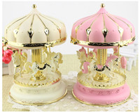 Wholesale crafts presents - LED Merry-Go-Round Music Box Creative Carousel Music Boxes for Children Craft Gifts Girl Birthday Gift Holiday Present Home Decoration