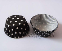 Wholesale Cupcake Paper Mold - 500pcs free shipping Black Polka dot Wedding Paper Cake Cup mold Cupcake Liner Decoration Muffin Case Chocolate Bake Mold baking tool