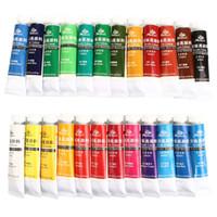 tekstil renkleri toptan satış-Sıcak 24 Renkler Profesyonel Akrilik Boyalar Set El Boyalı Duvar Boyama Tekstil Boya Parlak Renkli Sanat Çizim Malzemeleri