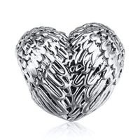 Wholesale European Snake Fashion Bracelet - Wholesale 925 Sterling Silver Charm Wings Feather Hearts European Charms Beads Fit Pandora Snake Chain Bracelet DIY Fashion Jewelry