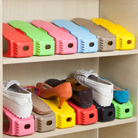 colisões de plástico venda por atacado-8 cores Simples Sapatos Rack de Plástico de Cor Sólida Camada Dupla Estéreo Receber Sapatos de Armazenamento Cabide Salva espaço