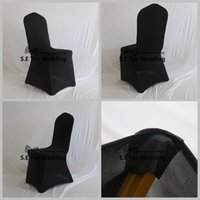 Wholesale Black Lycra Chair Covers - 50pcs Lot Black Color Lycra Spandex Chair Cover Flat Front With Strong Pocket High Thick Fabric
