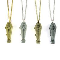 Wholesale Vintage Style Necklaces - Jack Skellington Coffin locket Pendant Necklace Vintage Style Alloy 6Pcs lot