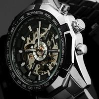 relógio de homens de luxo vencedor venda por atacado-Hot 2019 Vencedor Da Marca de Luxo Esporte Esqueleto Automático Dos Homens Mecânicos Militar Assista Homens Aço Inoxidável Completa Banda reloj