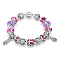 Wholesale C Unique - Hot Selling Fashion Jewelry Silver Plated Charm Bracelets For Women With Unique Heart Shape Glass Beads DIY Birthday PDRH001-C