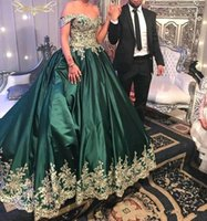Wholesale turquoise ruffled quinceanera dress - Turquoise 2018 Dark Green Off Shoulder Quinceanera Dresses Lace Gold Applique Cheap Satin Ball Gown Prom Gowns Sweet 16 Formal Dress Custom