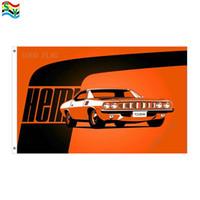 ingrosso bandiera arancione-Bandierina arancione delle bandiere di Cuda Hemi Dimensione 3x5FT 90 * 150cm con il gommino di protezione del metallo, bandierina esterna