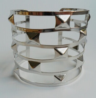 Wholesale Wholesale Western Cuffs Bracelets - Wholesale-Western Punk Style Cuff Bangles with Gold and Silver Plated Geometry Hollow out Metals Bracelet,Costume Jewellery smt95