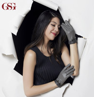 Wholesale Lambs Skin Leather - Wholesale-GSG Ladies leather gloves with bowknot Contrast color lamb skin