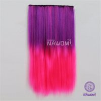 Wholesale Hair Extension Hightlight - NAWOMI Long Straight Hairpiece Ombre Purple Rose Hightlight Colour Colorful 20Inch 5 Clip-In On Synthetic Hair Extension Women
