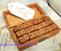 Wholesale Vintage Wooden Stamp - Free DHL Shipping 50sets 30pcs set DIY Lowercase Uppercase Alphabet Rubber Stamp Vintage Style Wood Stamps Letters Number Wooden Box Set