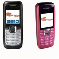 telefone 2g desbloqueado venda por atacado-Bar telefone desbloqueado suporte para cartão SIM FM por 1,36 polegadas 2610 celular com rádio FM rede 2G chamado com caixa