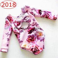 Wholesale Zebra Print Bows - ins spring floral print kids cotton big bow rompers baby rainbow full print jumpsuits romper infant newborn flower full print rompers