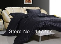 Wholesale Men Luxury Black Plaid Bedroom Bedding Set Textile Silk Cotton Fabric Full Queen Bed Duvet Quilt Cover Bed Sheet Comforter From Dropshipping