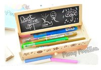 Wholesale Blackboard Chalk Holder - New Multifunctional Wooden Pencil Case Vintage Stationery Holder With Chalk And Blackboard pen box Reusable Memorandum