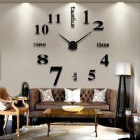 grandes espejos modernos al por mayor-Moderno bricolaje gran reloj de pared 3D espejo superficie adhesivo decoración arte diseño nuevo