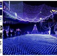 Wholesale Mesh Fairy Lights - Blue 200 LED 2m *3m Net light Net Mesh Fairy Lights Twinkle Lighting Christmas Wedding