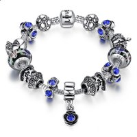 Wholesale Vintage Murano Glass Beads - Vintage Charm Brackets with Flower Murano Glass Beads & Silver Charms & Sapphire Blue Cubic Zirconia Bangle Bracelets BL065