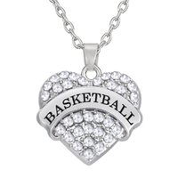 Wholesale Rhinestone Basketball Jewelry - Top Quality Zinc Rhodium Plated Crystal Heart Letter BASKETBALL Pendant Necklaces Link Chain Jewelry