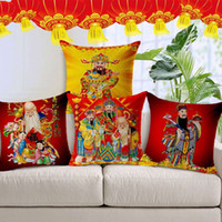Wholesale Cover Pillows China - Pillow Case China New Year Joyous Red Cushion Cover Home Living Room Sofa Deco Traditional Chinese Square Pillow Cover Linen