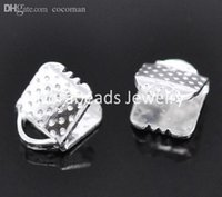 Wholesale 6x8mm Bead End Caps - Wholesale-Free Shipping! 300 Silver Plated Textured End Caps Crimp Beads 6x8mm (B14705)
