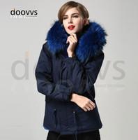 Wholesale Women Winter Coat Manufacturers - blue warm winter Mrs fur coat parka with big real raccoon fur collar,factory price Direct Manufacturer