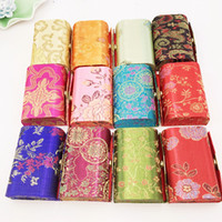 Wholesale Satin Jewelry Packaging Wholesale - Mirror Small Wedding Favor Candy Box Vintage Flower Satin Fabric Decorative Chocolate Packaging Boxes Jewelry Storage Case 12pcs lot