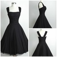 Wholesale Simply Short Chiffon Dresses - Simply 1950s Black Prom Dresses 2015 A-Line Spaghetti Knee Length Formal Dresses Short Graduation Gowns Ruffle Prom Gowns For Girl 726