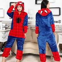 Wholesale Adult Kigurumi Onesies - Superhero Spiderman Onesies Pajamas Kigurumi Jumpsuit Hoodies Adults Cosplay Costumes With Zipper Halloween and Carnival Costume