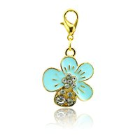 Wholesale Wholesale Rhinestone Charm Sliders - Brand New Fashion Floating Charms Alloy Lobster Clasp 4 Color Rhinestone Petal Charms DIY Accessories Jewelry