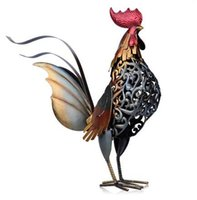 Wholesale Rooster Craft - Metal Figurine Iron Rooster Home Decor Articles Vivid Colorful Figurine Craft Gift For Home Decoration Accessories