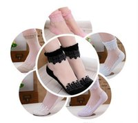 Wholesale Hot Womens Transparent Black - Hot sales Colorful Ultrathin Transparent Beautiful Crystal Lace Elastic Short Women Socks Calcetines Pink Sock for Womens meias