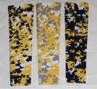 Wholesale Wholesale Baseball Armbands - DHL wholesale 2016 Baseball Stitches digital camo arm sleeves baseball Outdoor Sport Stretch Elbow Extended armband compression sleeves