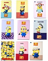 Wholesale Ipad Mini Minion Case Flip - Cartoon Mickey Minine Minions ME2 Donald Leather Flip Wallet Case Pouch For Ipad 2 3 4 5 6 Ipad5 Air 2 Mini 4 tablet TSUM Stand Cover 3pcs