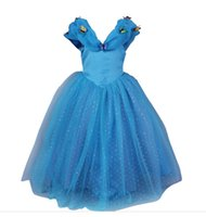 Wholesale Wedding Puff Sleeves Dress - Dresses Wedding Cinderella Girl Party Dresses Blue Princess Dress Baby Kids Clothing Butterfly Childrens clothing Kids Costumes
