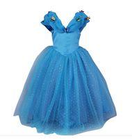ingrosso abiti blu per bambini-Abiti da sposa Cenerentola Ragazza Abiti da festa Blu Abito da principessa Bambino Abbigliamento per bambini Farfalla Abbigliamento per bambini Costumi per bambini