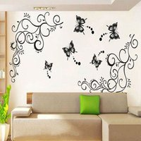 Wholesale Wisteria Flower Wall Stickers - Black Butterfly Flying Wisteria Flower Vine Art Home Decor PVC Wall Sticker Paper 2015 Fashion