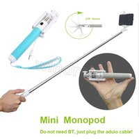 Wholesale wired monopod for sale - Group buy Mini Folding Self timer Selfie Stick Monopod support IOS iphone Android Smart phone wired Handheld Extendable Camera Remote Controller