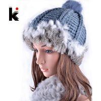 Wholesale knitting patterns hats for women - Wholesale-2015 Winter girls rex rabbit fur beanie hat with ears knitting patterns touca hats for women beanies cap female