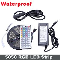 IP65 5M 300 LED SMD luci 5050 il RGB LED strisce 60 LED / M + 44key regolatore a distanza + Alimentazione 12V 6A con / AU / UK / US / spina SW UE