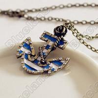 Wholesale Vintage Rose Sweater - Vintage Marine Era Retro Rose Anchor Created Diamond Pendant Long Necklace Sweater Chains necklaces & pendants 04SV