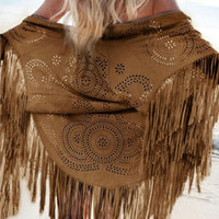 Wholesale Leather Fringe Jacket Xl - Wholesale-Women Coffee Faux Suede Leather Cut Out Summer Beach Cover Up Kimono Long Fringes Tassels Thin Coat Cardigan Jacket Size S - XL